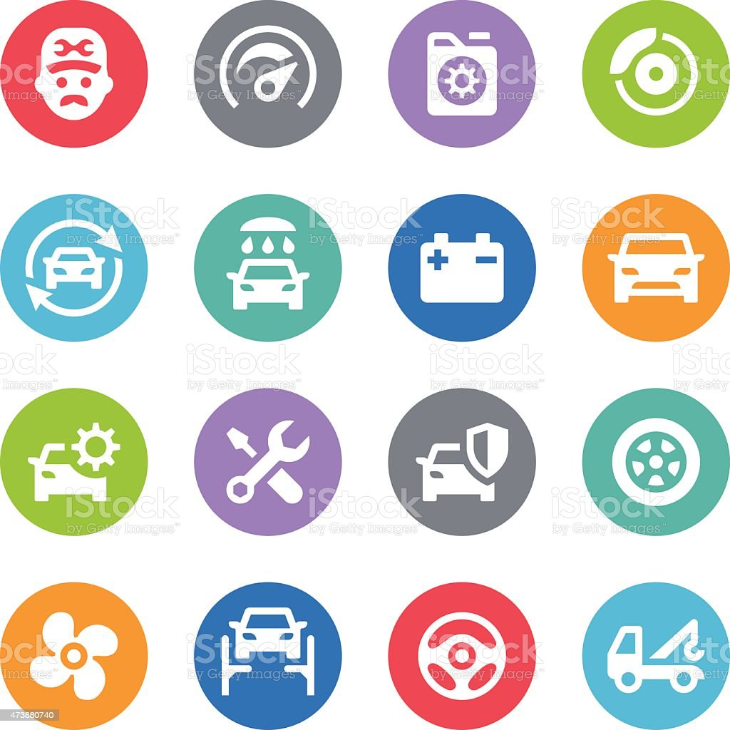 Car Service Icons - Circle Illustrations vector art illustration