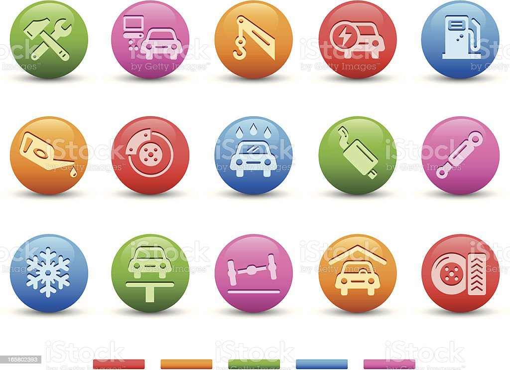 Car Service Icons | Satin Series vector art illustration