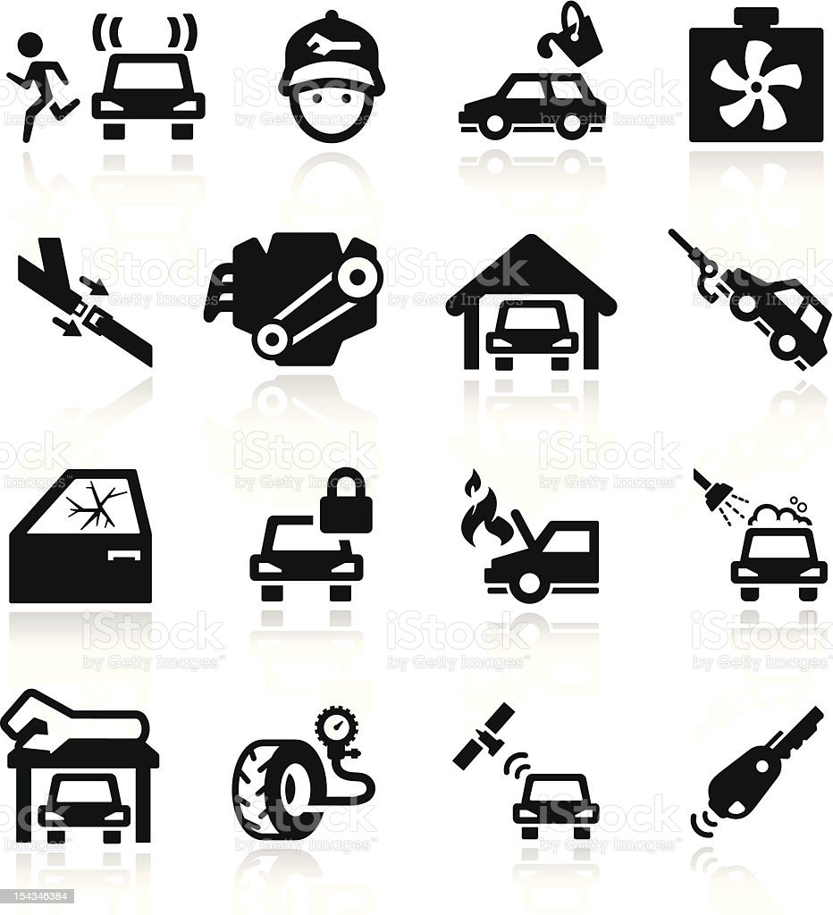 Car Service Icons set Elegant series vector art illustration