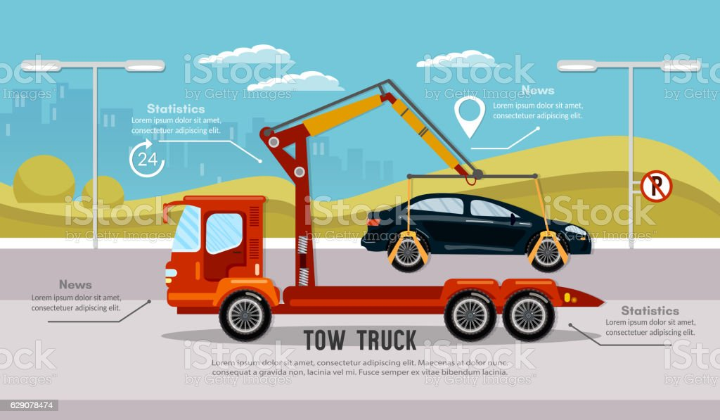 Car service infographic, tow truck vector art illustration