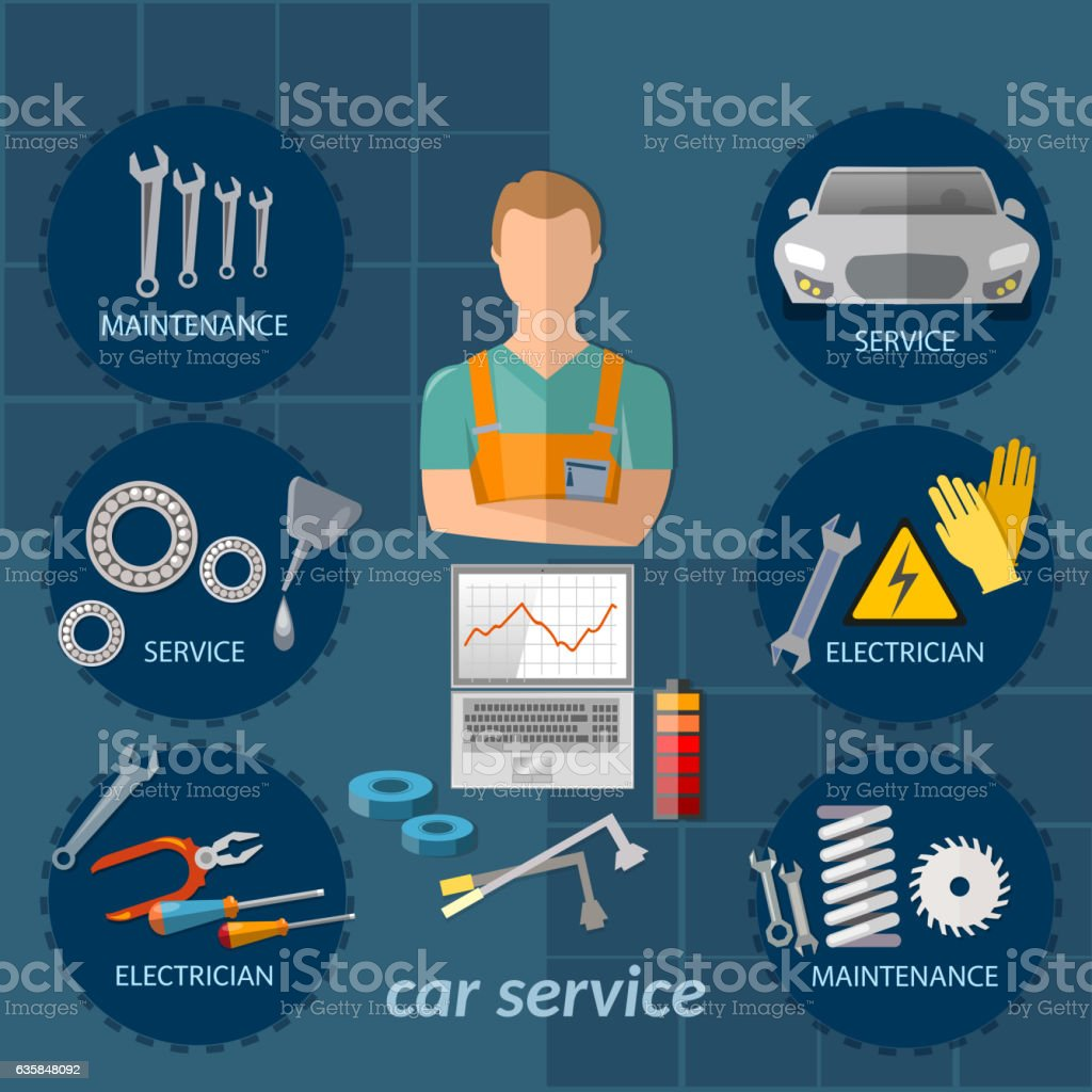 Car service infographics mechanic auto service center vector art illustration