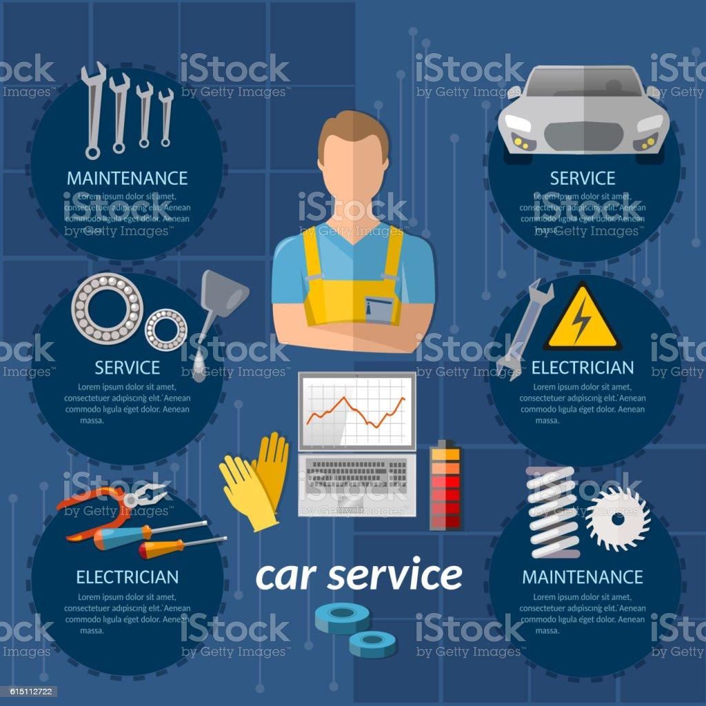 Car service infographics mechanic car diagnostics vector art illustration