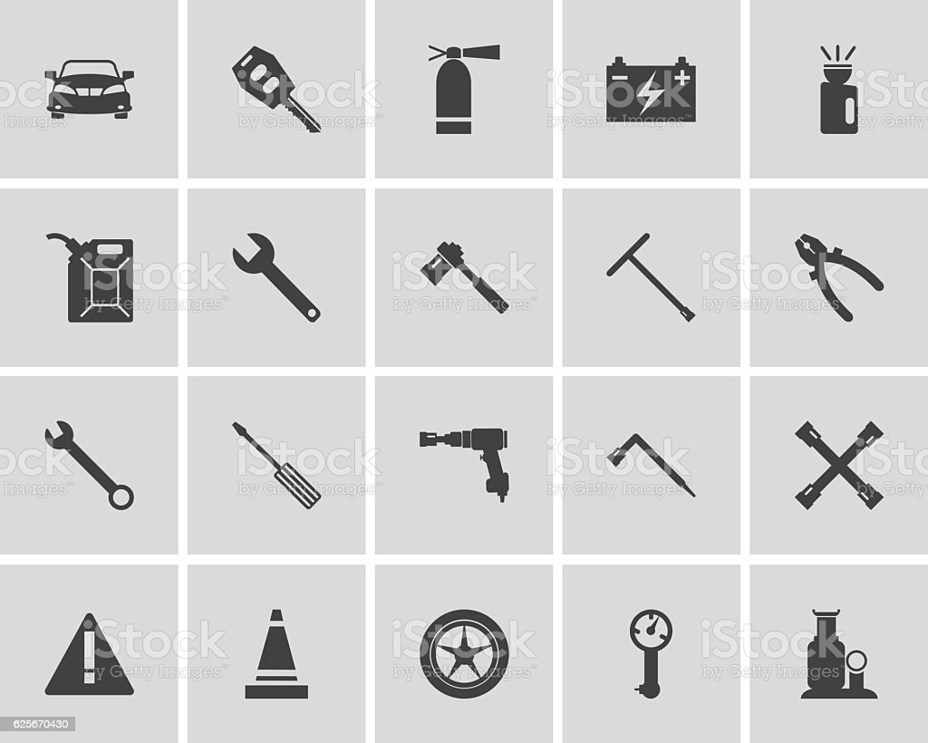 Car service maintenance icon set. Vector illustration. vector art illustration