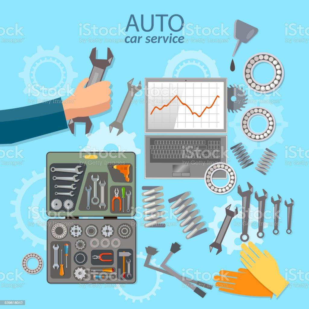 Car service mechanic tool box professional auto repair vector art illustration
