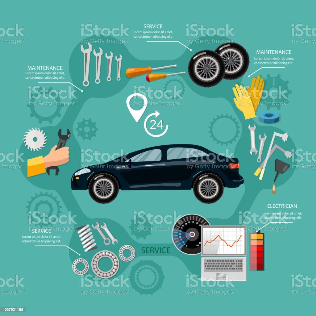Car service mechanic tool box tuning diagnostics, tire service vector art illustration