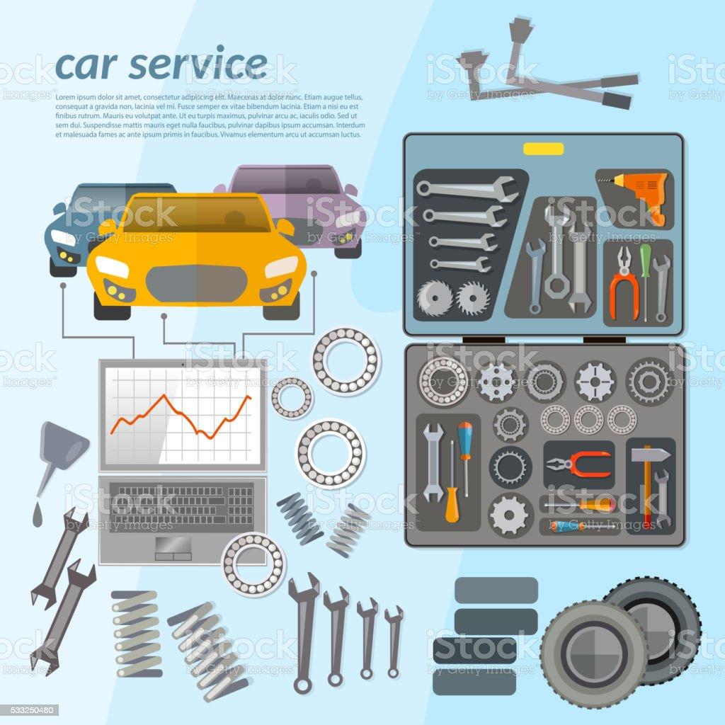 Car service mechanic tool box tuning diagnostics vector art illustration