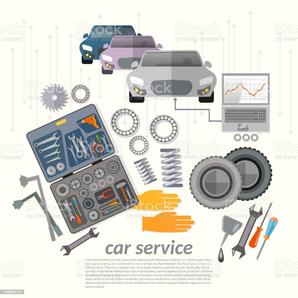 Car service mechanic tools vehicle diagnostics vector art illustration