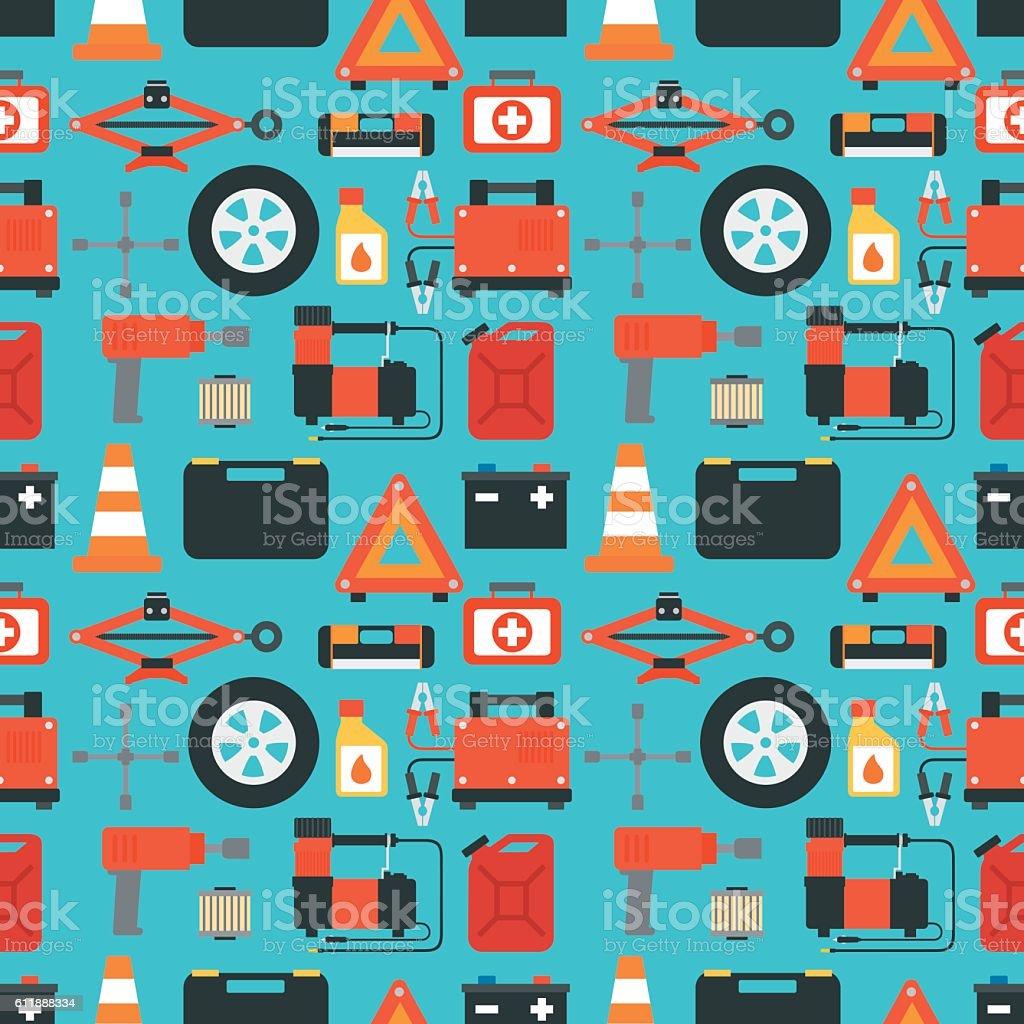 Car service seamless design flat vector art illustration