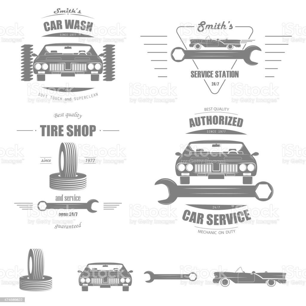 Car Service Vector Badge Set. vector art illustration