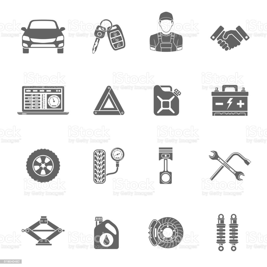 Car Service Vector Icons Set vector art illustration