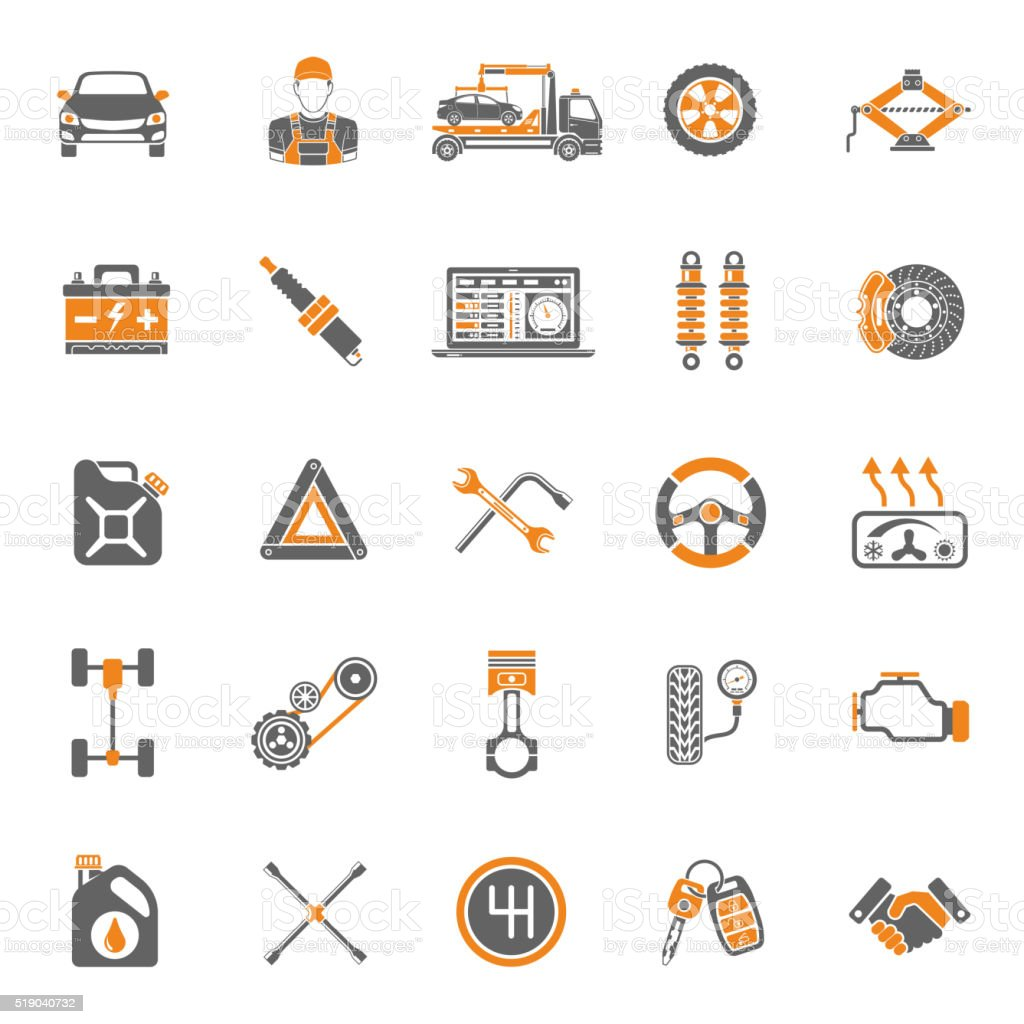 Car Service Vector Icons Set vector art illustration