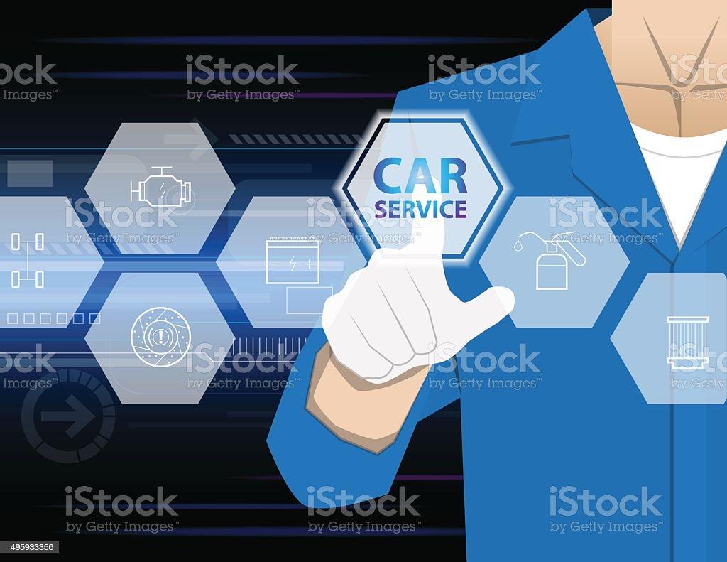 car service,Businessman working with modern virtual technology, vector art illustration