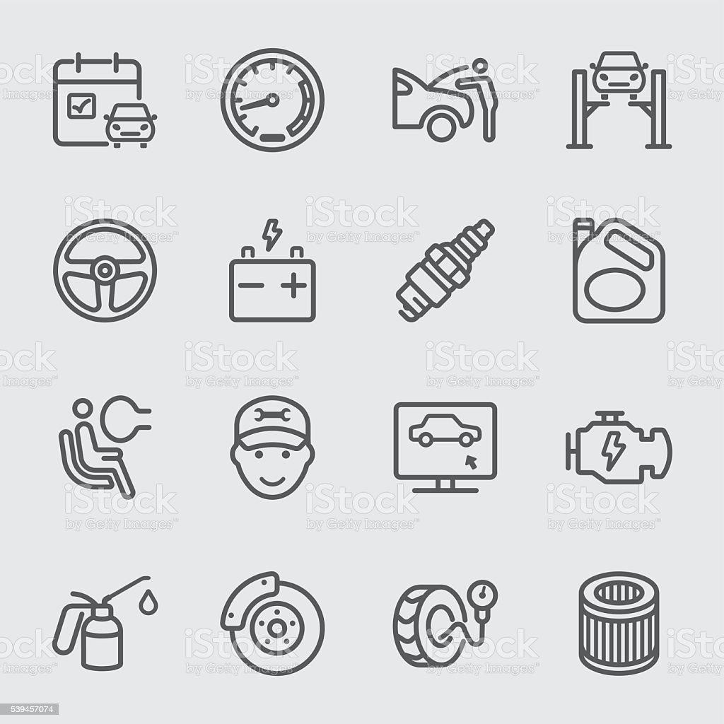 Car services line icon vector art illustration
