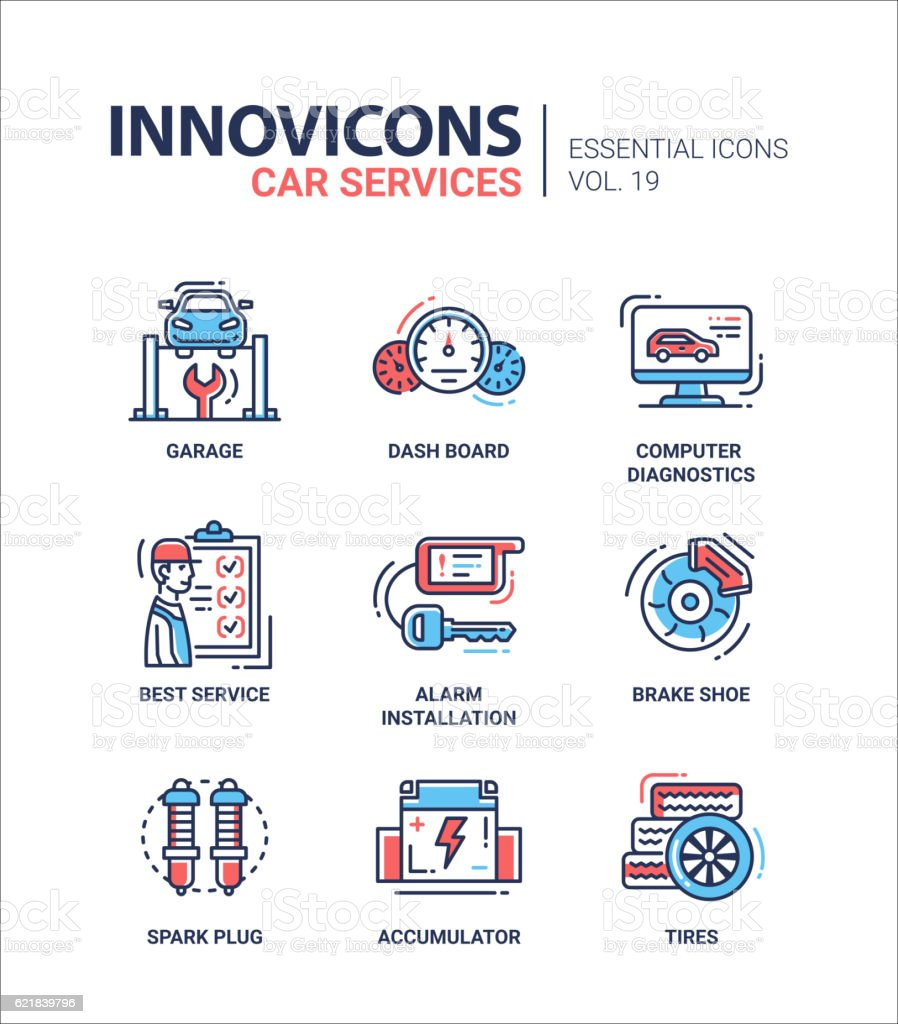 Car Services modern thin line design icons and pictograms vector art illustration