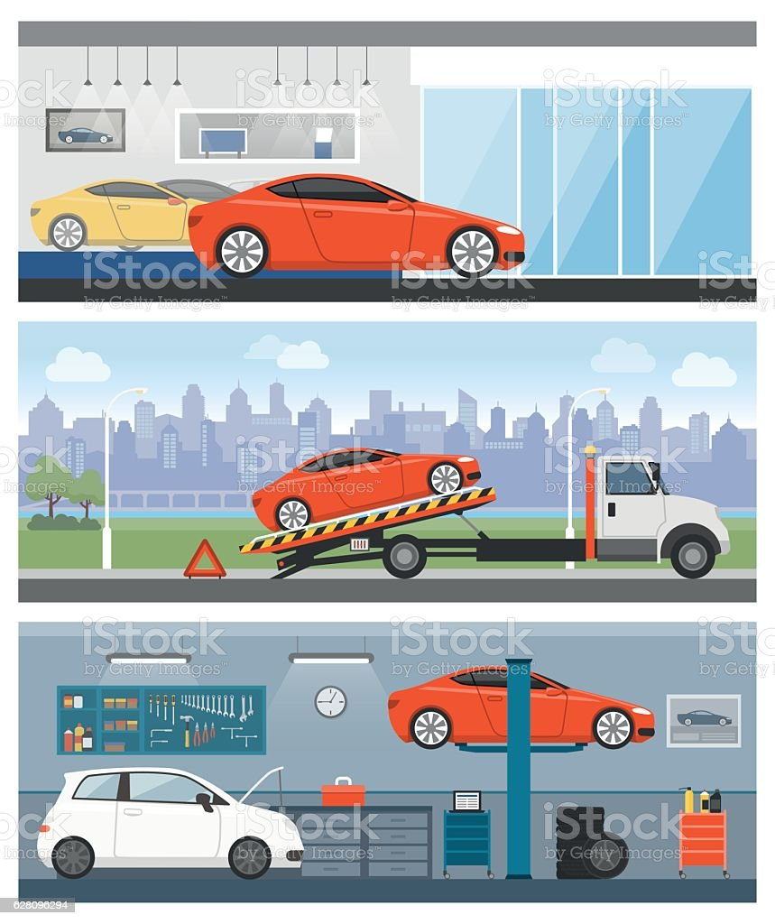Car services vector art illustration