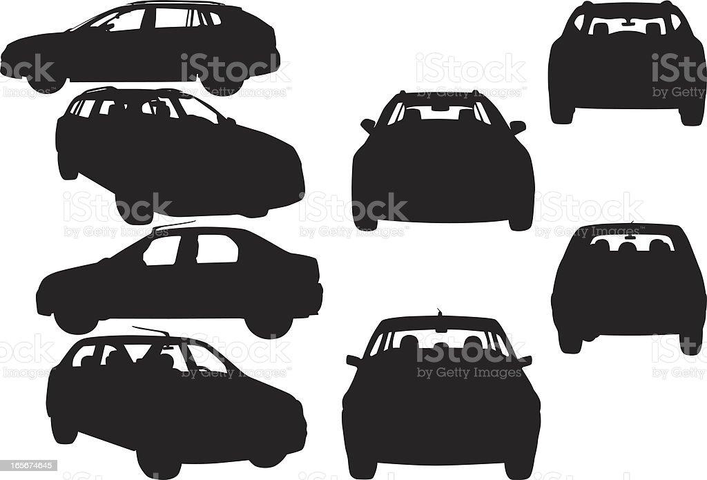 Car shapes vector art illustration