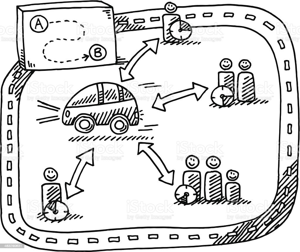 Car Sharing Concept Drawing vector art illustration