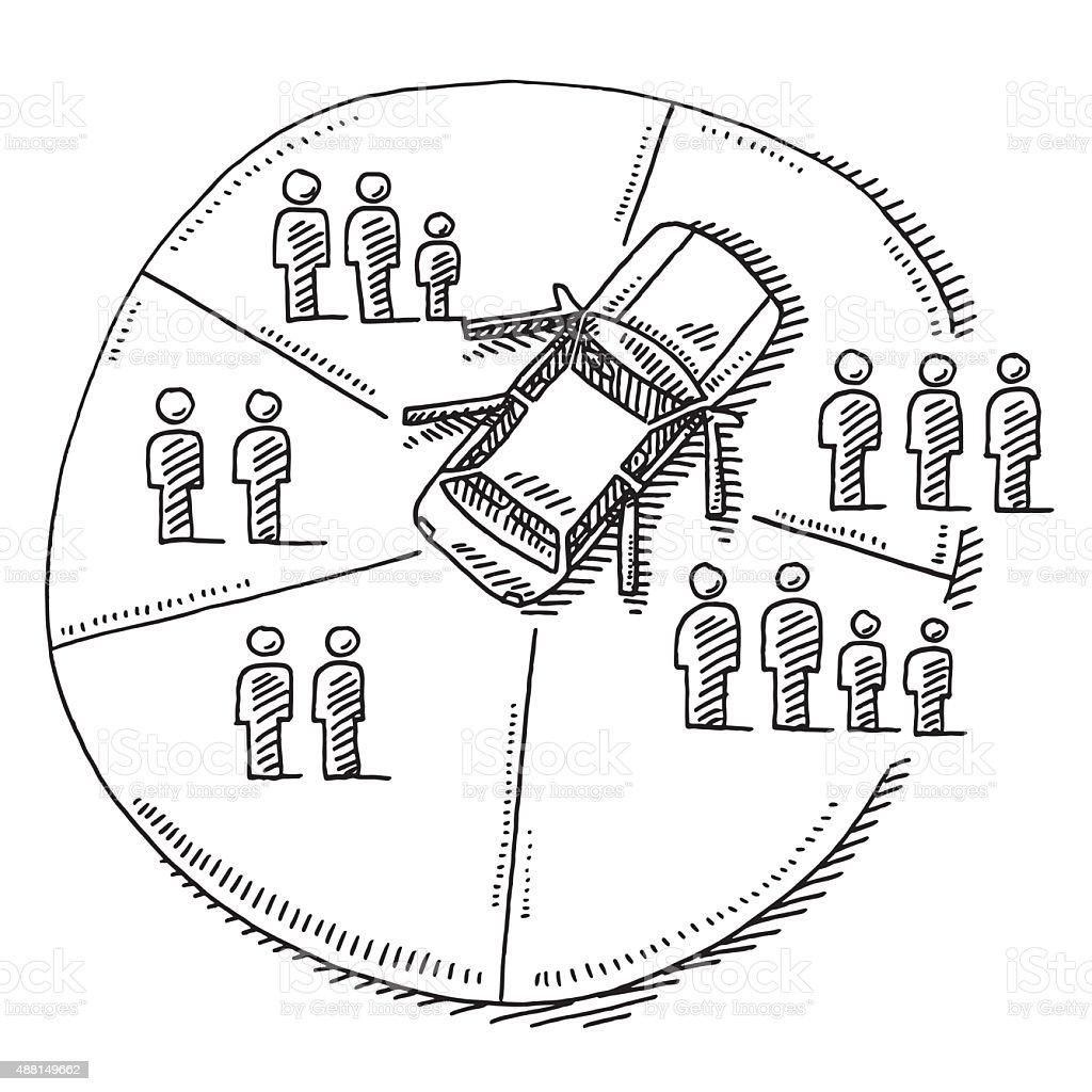 Car Sharing Concept Drawing vector art illustration