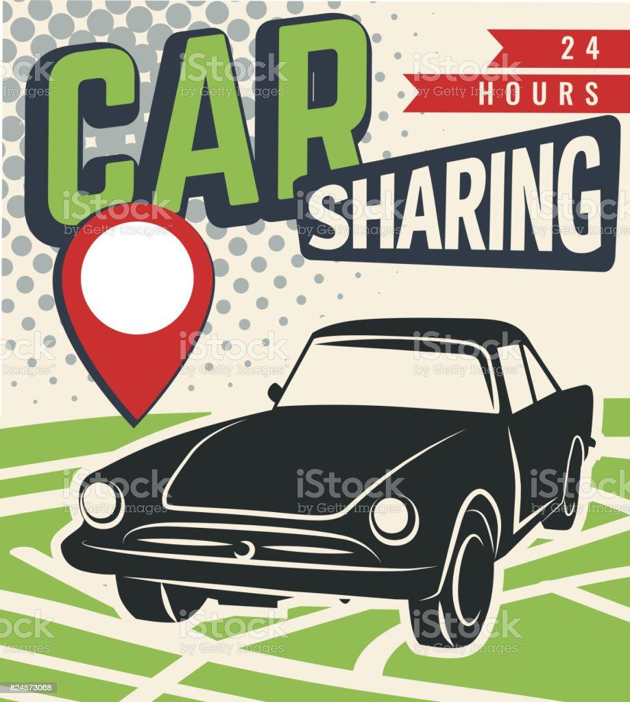 Car sharing vector vector art illustration