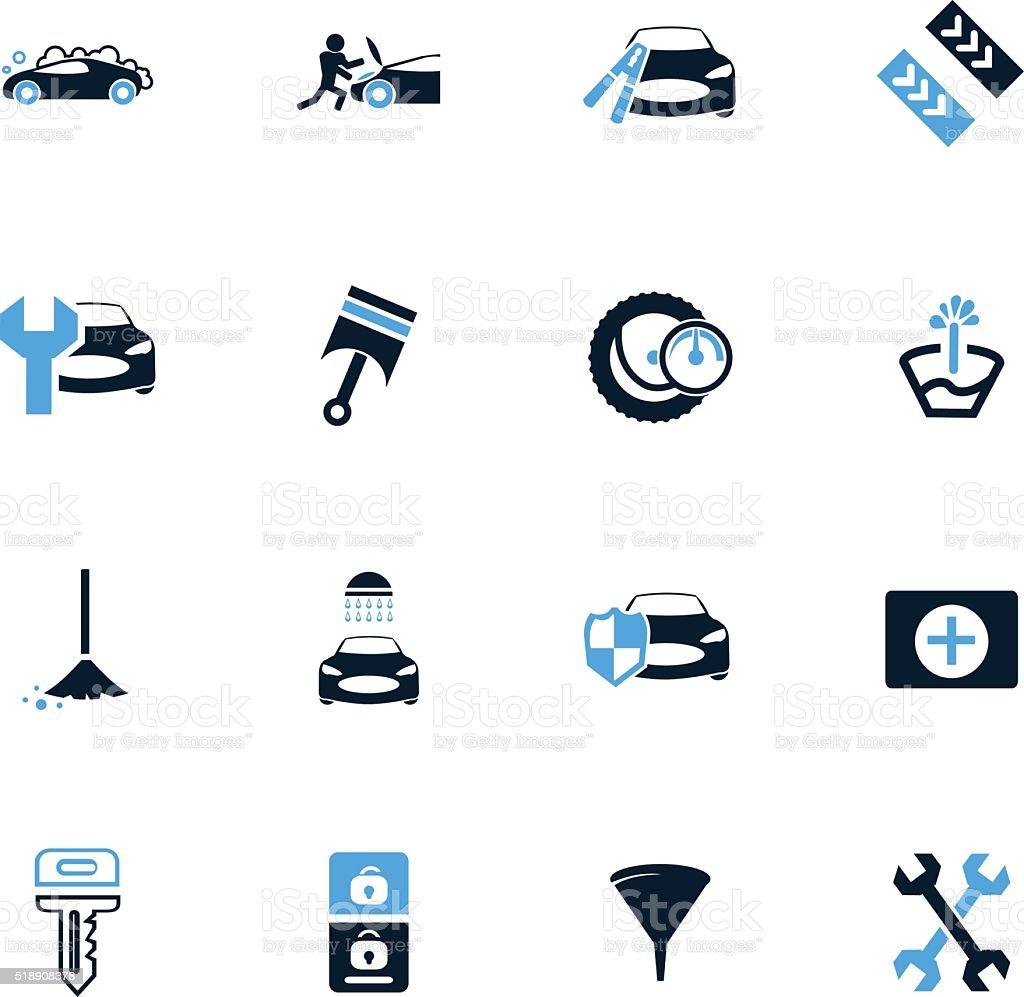 Car shop icons set vector art illustration