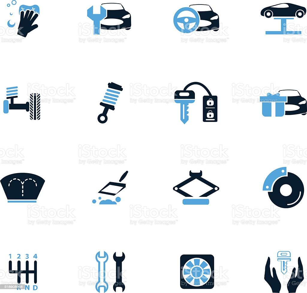 Car shop icons set vector art illustration