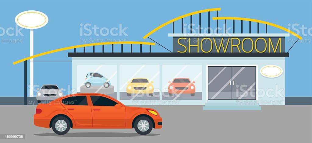 Car Showroom Illustration vector art illustration