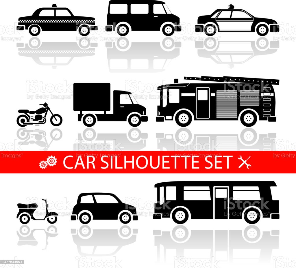 car silhouette icons set with reflection  vector royalty-free stock vector art