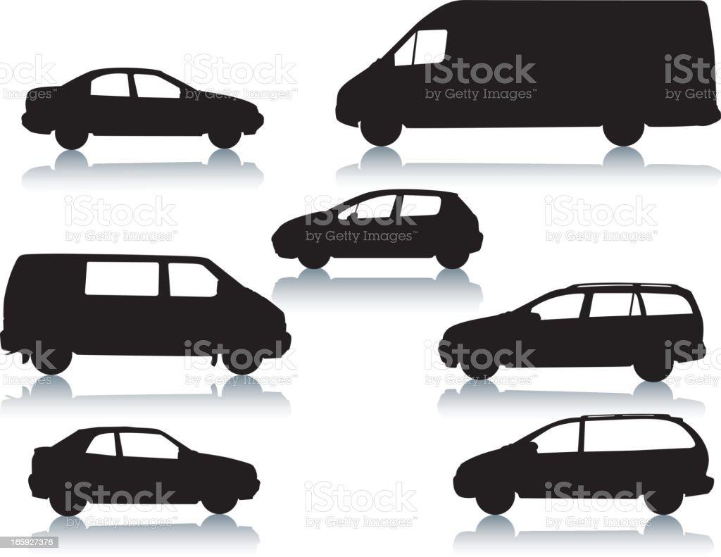 Car silhouettes vector art illustration
