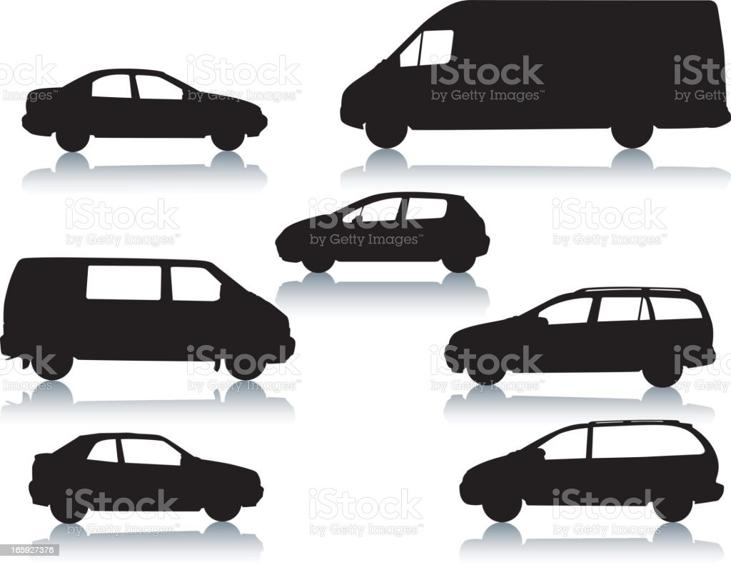 Car silhouettes vector art illustration