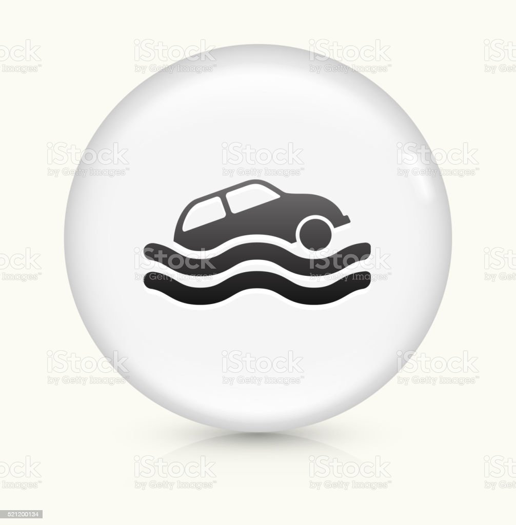 Car Sinking icon on white round vector button vector art illustration