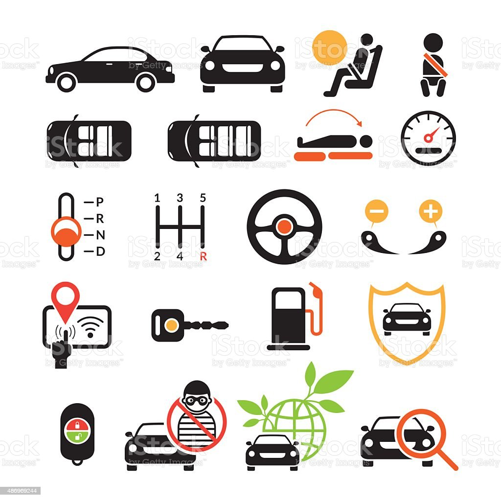 Car Specification and Performance Objects icons Set vector art illustration