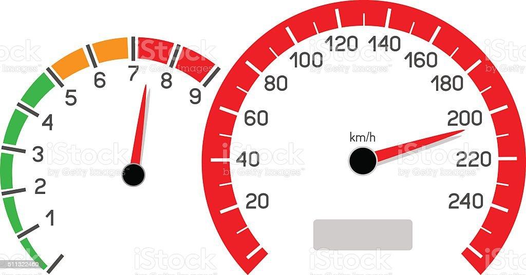car speeding limit vector art illustration