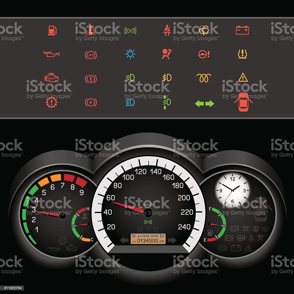car speedometer night panel vector art illustration