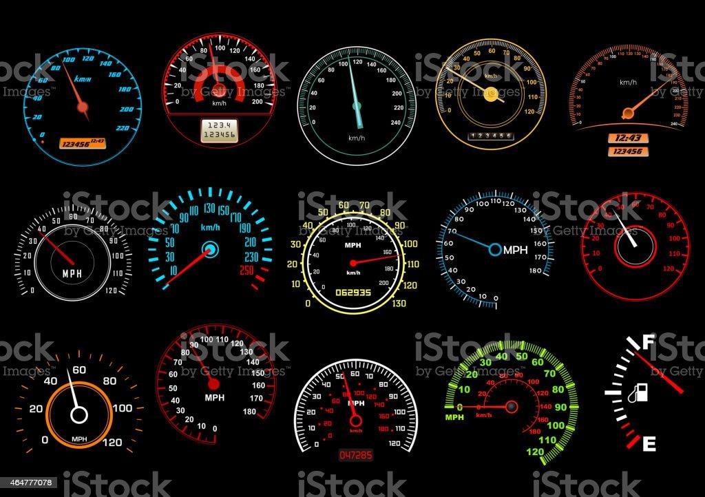 Car speedometers on black background vector art illustration