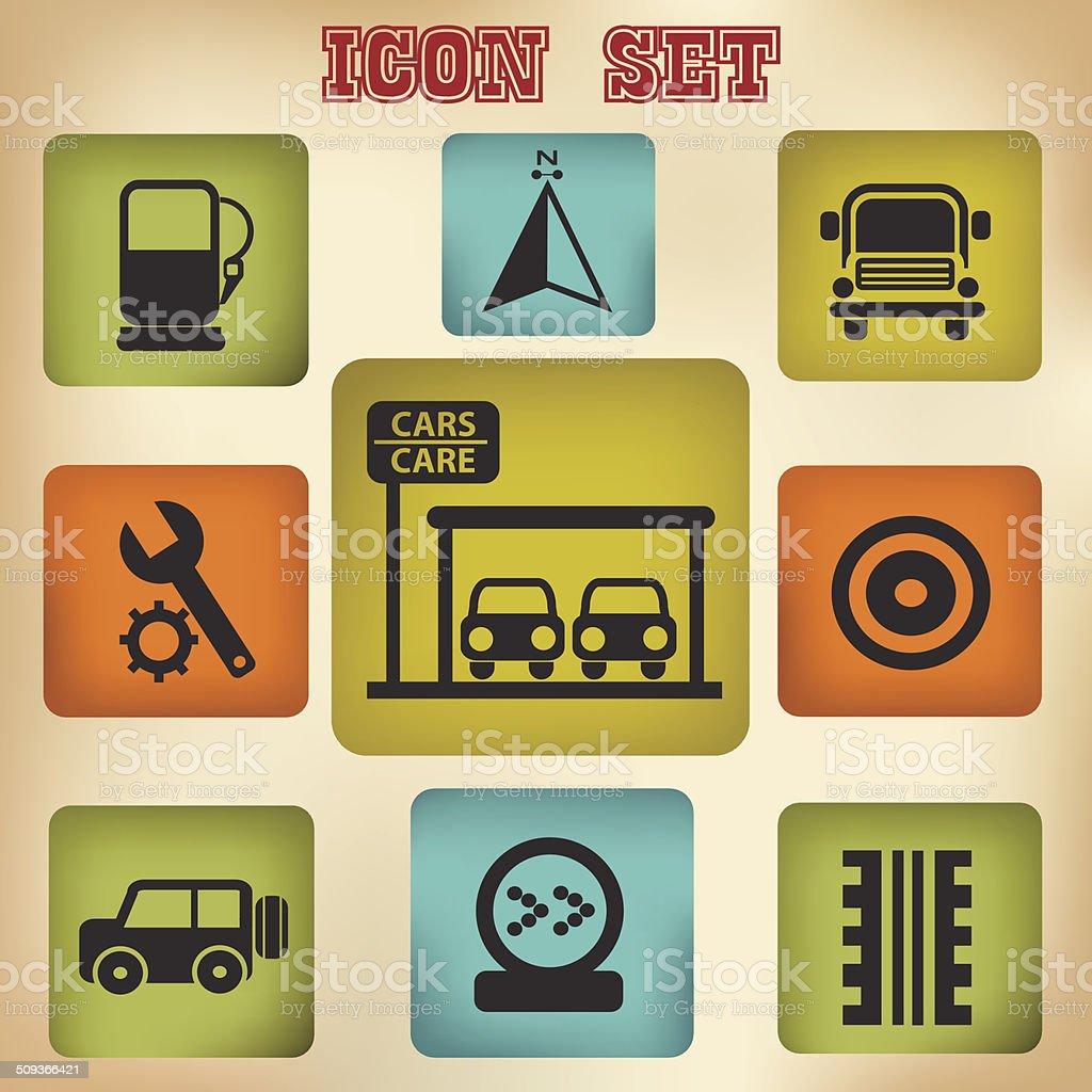 Car station icon set,vector royalty-free stock vector art