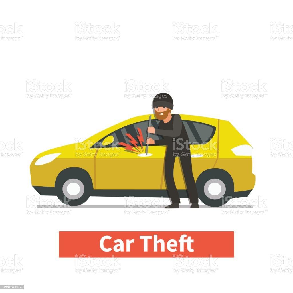 car stealing vector art illustration