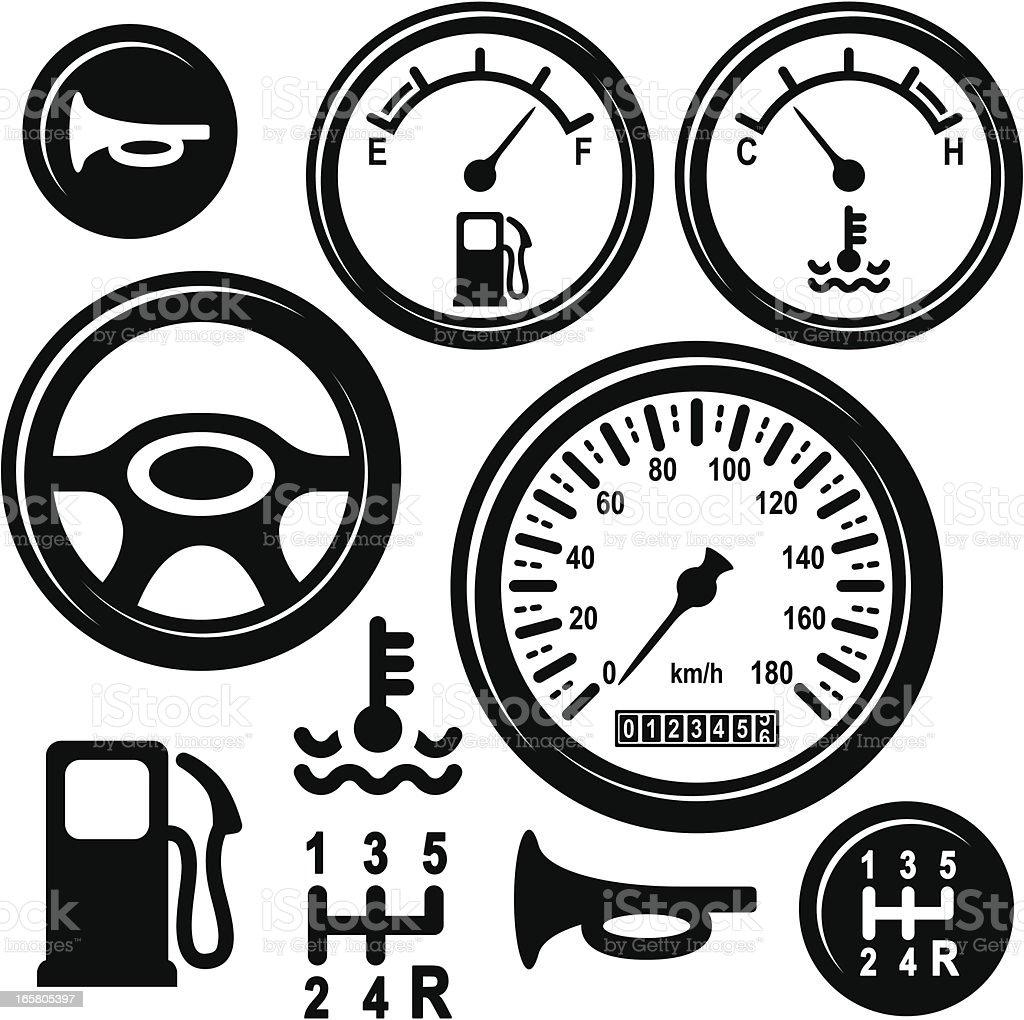 Car Steering Wheel, Gear, Horn, Fuel, Temperature, Speed Control Icons vector art illustration