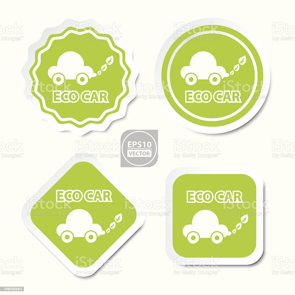 ECO Car stickers, icons, badge, signs or symbols. royalty-free stock vector art
