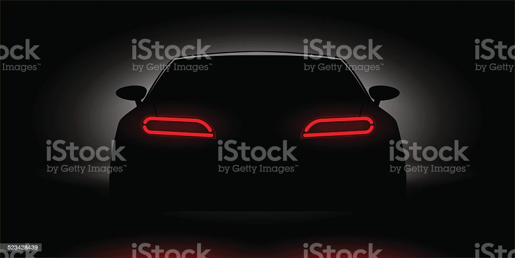car tail lights shine vector art illustration