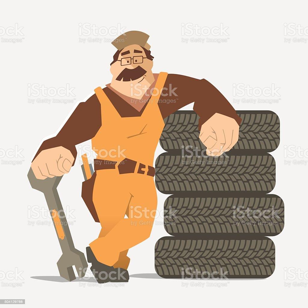 Car tire tyre service vector art illustration