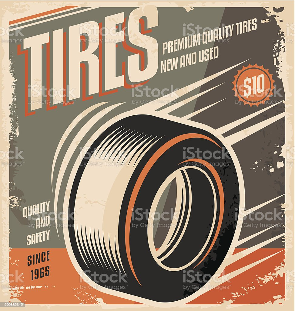Car tires retro poster design vector art illustration