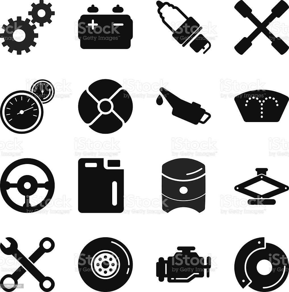 Car Tools Silhouette Icons vector art illustration