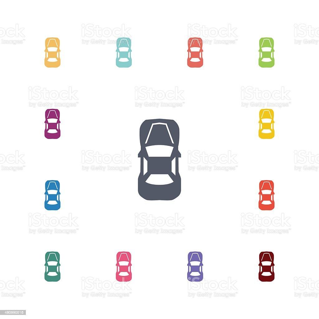 car top flat icons set vector art illustration