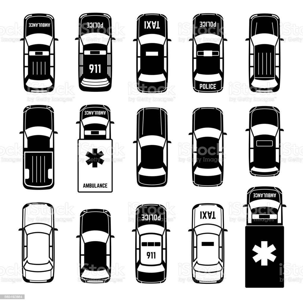 Car top view transportation vector black icons vector art illustration