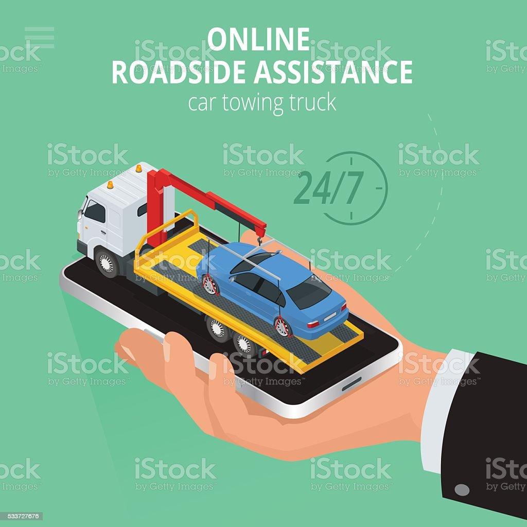 Car towing truck Online vector art illustration