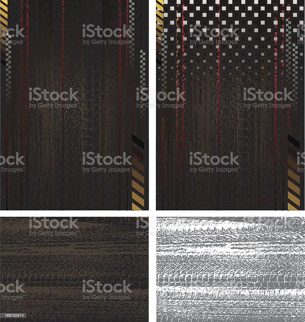 Car Tracks in the Mud Background vector art illustration