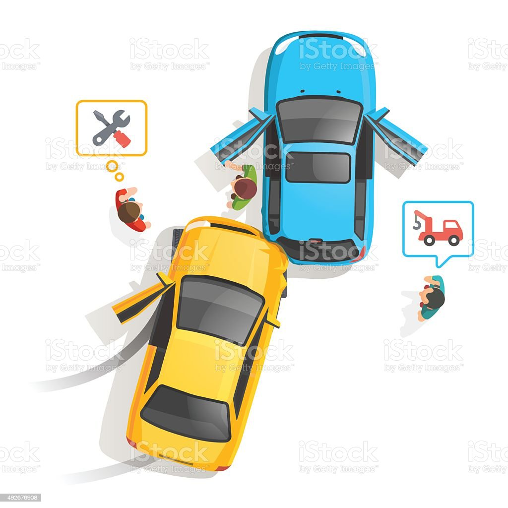 Car traffic accident top view vector art illustration