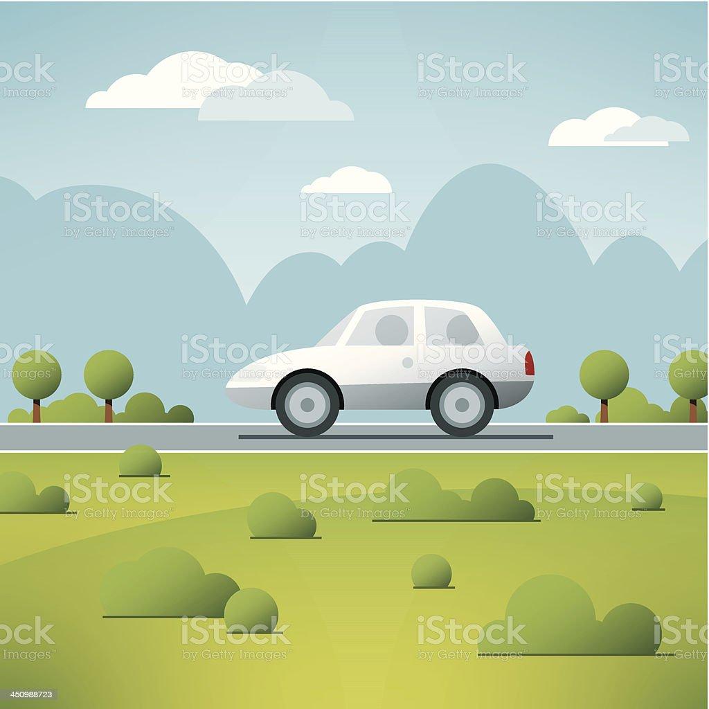 Car Travel Landscape Vector royalty-free stock vector art