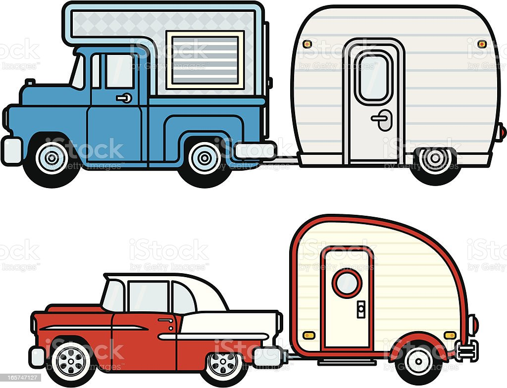 Car, Truck, Camper and Trailers royalty-free stock vector art