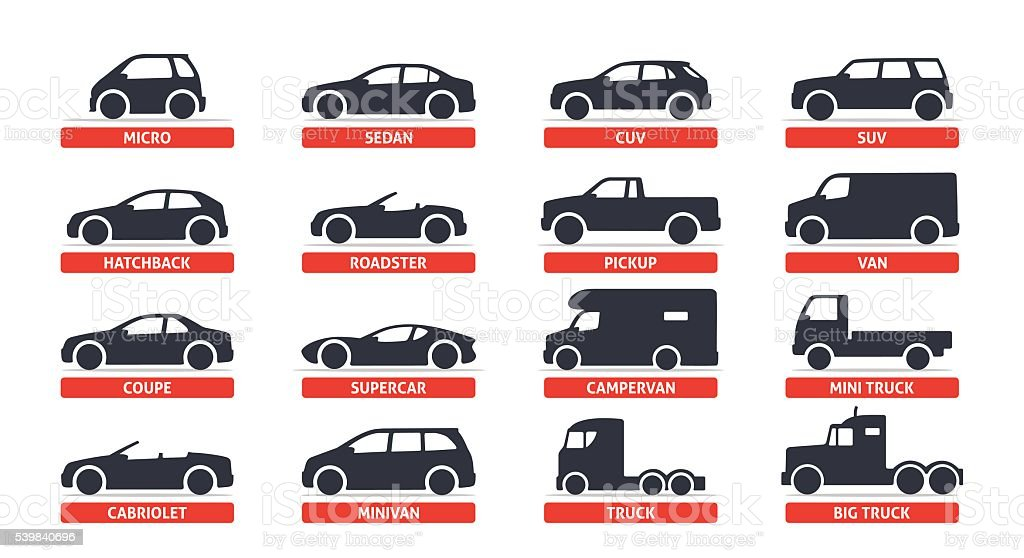 Car Type and Model Objects icons Set, automobile. vector art illustration